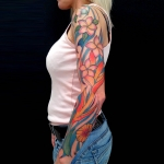bras floral , couleur tatouage , tattoo arm , girly , floral tattoo , dermographink, chambery , savoie