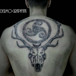 cerf, skull, crane, triskel, pierre, tattoo, taouage, dos, back, dermographink, chambery