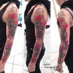 floral indie, tatouage, tattoo, color, couleur, dermographink ,tatouage, chambery, savoie