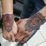 lion lionne couleur tattoo  dermographink chambery tatouage