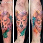 loup, wolf, watercolor, tattoo, dermographink, chambery
