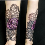 rose violette tatouage dentelle girly tattoo dermographink