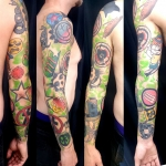 sleeve  new school couleur tattoo  dermographink chambery tatouage