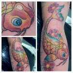tatouage couleur carpe koi fish tattoo bodyperfect chambery reyes , dermographink